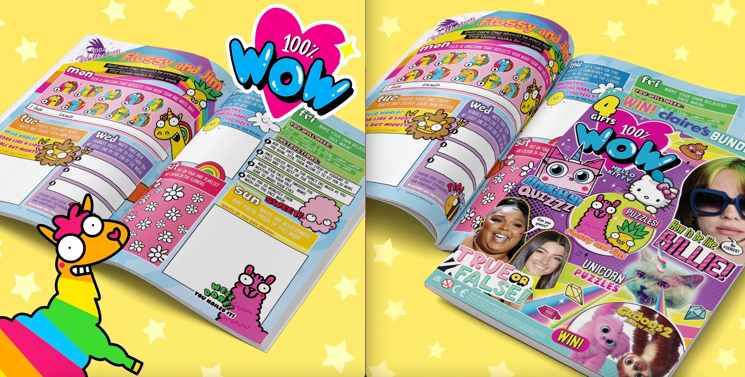 100% WOW magazine feature an inspiring Flossy and Jim double page spread focusing on self care