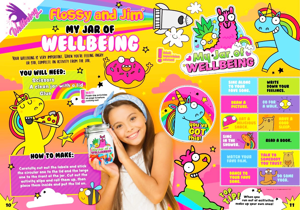 🌈 Flossy & Jim 'Jar of Wellbeing' feature in new issue of 100% Wow magazine! 🌈